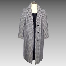 Vintage 1960s Best and Co Coat British Sportswear Navy and White Wool
