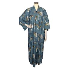 Vintage 1950s Kimono Robe Blue Printed Silk Excellent Quality Made in Japan