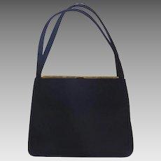 Vintage 1950s Morris Moskowitz Melama Black Wool Felt Handbag