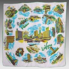 Vintage 1960s Las Vegas Souvenir Scarf Famous Casinos
