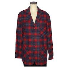 Vintage 1960s Pendleton Topster Red Plaid Wool Shirt