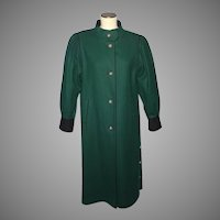 Vintage 1980s Bavaria Loden Long Coat Original Bayerischer Hunter Green