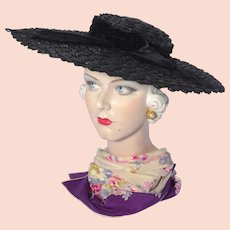 Vintage 1940s Large Black Straw Cartwheel Hat Burdines Sunshine Fashions