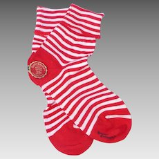 Vintage 1950s Buster Brown Childrens Cotton Socks Red and White Stripe Deadstock