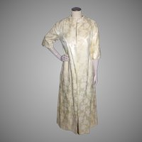 Vintage 1960s Neiman Marcus Ivory Damask Evening Coat