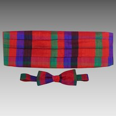 Vintage 1980s Santana Cummerbund and Bowtie Set Jewel Tones Plaid Original Box