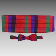 Vintage 1980s Santana Jewel Tone Plaid Cummerbund and Bowtie Set Original Box