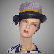 Vintage 1960s Navy Blue Straw and Stripe Bowler Style Hat