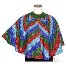 Vintage 1970s Sequined Cape Disco Era Over The Top