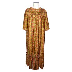 Vintage 1960s Hawaiian Casuals Dress  Stan Hicks Tiki Print MuuMuu