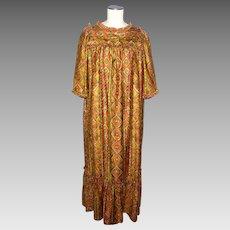 Vintage 1960s Hawaiian Casuals Dress by Stan Hicks Tiki Print MuuMuu