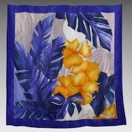 Vintage 1980s Oscar de la Renta Silk Scarf Tropical Moon and Palms
