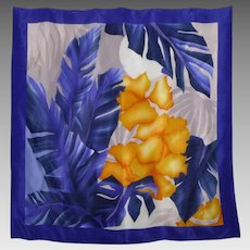 Vintage 1980s Oscar de la Renta Silk Scarf Tropical Moon and Palms