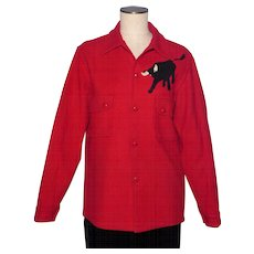 Vintage 1960s Boy Scout Red Wool Jacket Shirt With Philmont Bull Emblem