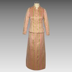 Vintage 1960s Saint Aubin de Paris 2 Piece Formal Dress Pink and Gold Brocade