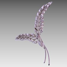 Vintage 1960s Danecraft Sterling Silver Leaf Brooch