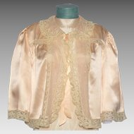 Vintage 1930s Silk Bed Jacket Lace Trim