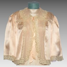 Vintage 1930s Silk Bed Jacket Lace Trim
