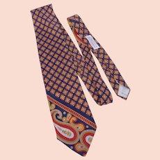 Vintage 1970s Yves Saint Laurent Silk Print Tie Originally Sold at Woodward & Lothrop