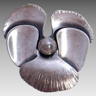 Vintage 1960s Orb Otto Robert Bade Modernist Sterling Silver Pansy Brooch