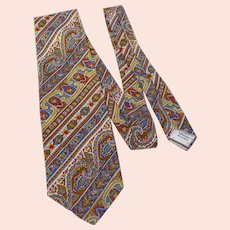 Vintage 1970s Liberty of London Silk Paisley Print Necktie