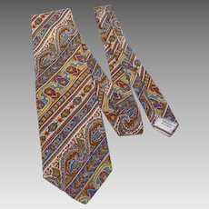 Vintage 1970s Liberty of London Silk Paisley Print Necktie