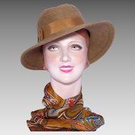 Vintage 1970s Gwen Pennington Kashmir Fedora Hat