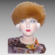 Vintage 1960s Fox Fur Hat Ursula Hammil Wool Crochet