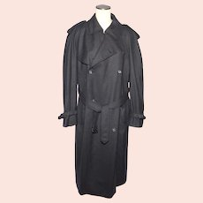 Vintage Late 1970s Christian Dior Gray Wool Trench Coat