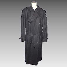 Vintage Late 1970s Christian Dior Monsieur Gray Wool Trench Coat