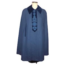 Vintage 1970s Loden King Blue Wool Cape Made in Western Germany
