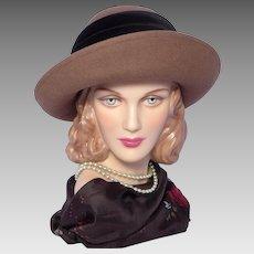 Vintage 1980s Laura Ashley Breton Style Hat Brown Wool Felt Made in Great Britain