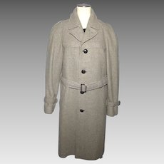 Vintage 1950s 60s Pendleton Mens Wool Tweed Trench Style Coat