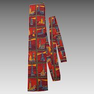 Vintage 1960s Rooster Necktie Lighthouses Print Skinny Square Bottom
