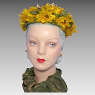 Vintage 1960s Arnold Gottlieb Floral Pillbox Hat Originally Sold at Montaldos