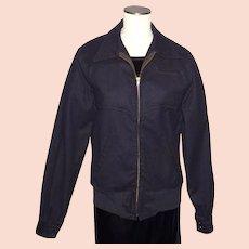 Vintage 1950s-60s Black Wool Military Jacket U S Navy