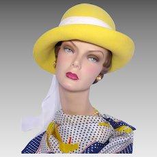 Vintage 1970s Mr John Classic Yellow Wool Felt Hat Deadstock