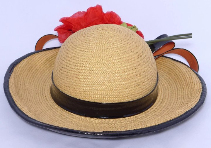 077a14960cd Vintage 1970s Yves Saint Laurent YSL Straw Hat Floral and Black Patent