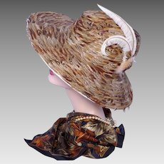 Vintage 1970s Jack McConnell Feather Hat Wide Brim Red Feather One Of A Kind
