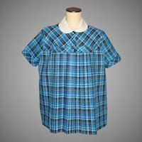 Vintage 1950s Maternity Top Blue Plaid Cotton Pleated