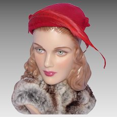Vintage 1950s Red Wool Felt Hat With Long Red Feathers and Original Hat Pins