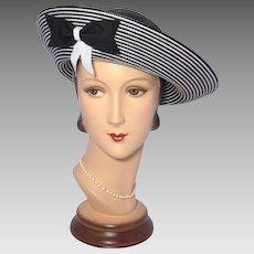 Vintage 1980s Sylvia Black and White Straw Breton Hat