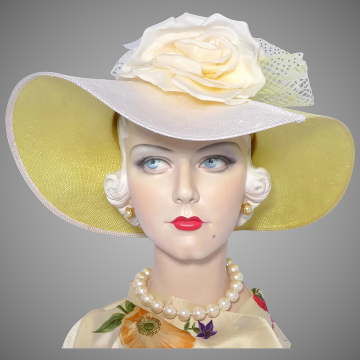 a2bc00eb34ada5 Vintage 1980s Chapeau Creations Ruth Kropveld Wide Brimmed Straw Picture Hat  Silk Rose Detail