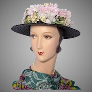 Vintage 1940s Gage Brothers Black Straw Boater Style Hat With Floral Crown