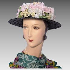 1f1487acaee Vintage 1940s Gage Brothers Black Straw Boater Style Hat With Floral Crown
