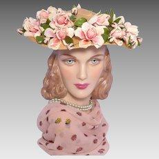 Vintage 1950s Frances Adams Straw Platter Hat Pink Roses