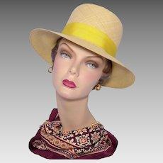Vintage 1960s Genuine Panama Hat Yellow Bow and Hatband