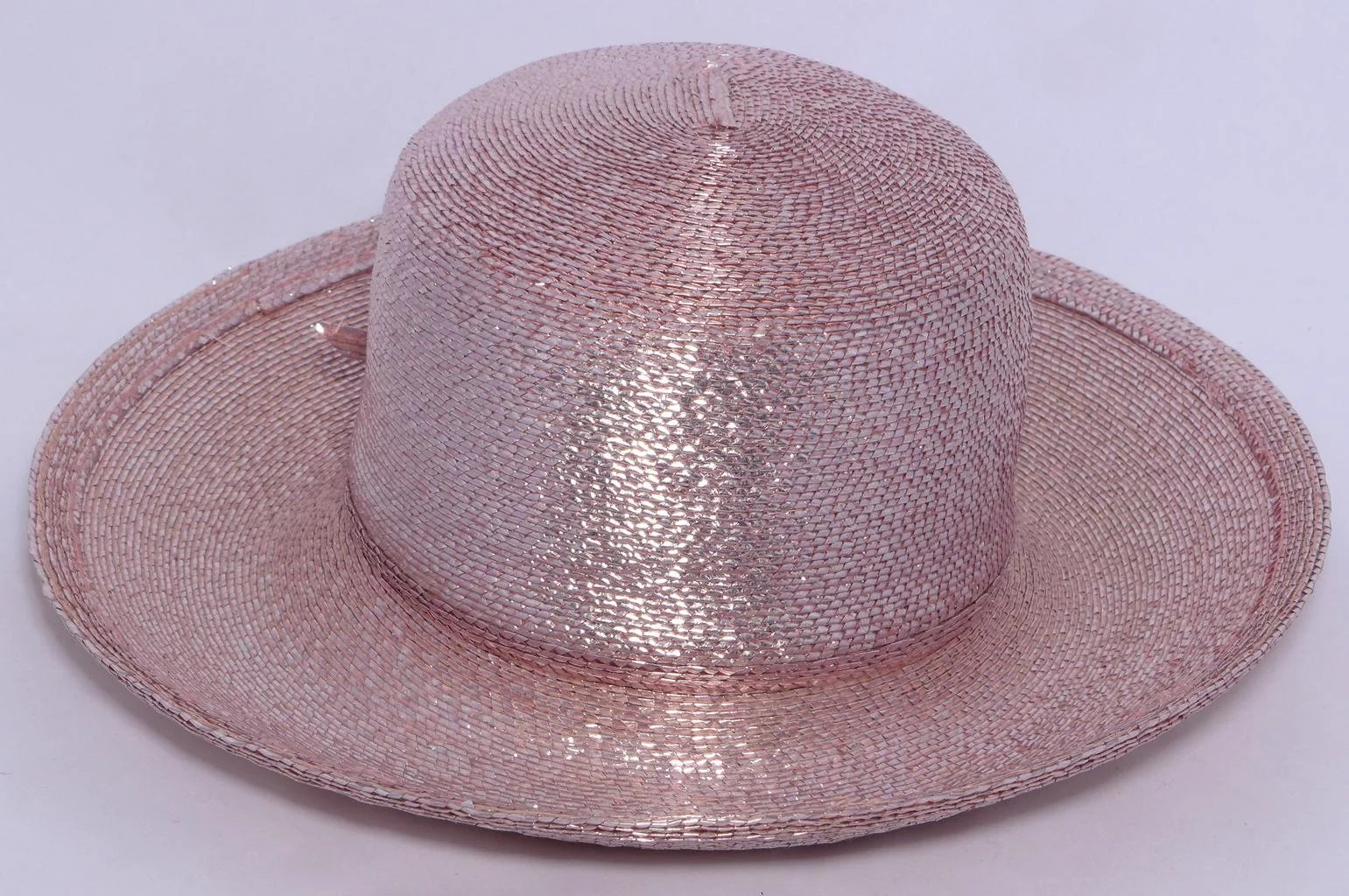 3fde153cf3f1e2 Vintage 1980s Frank Olive Blush Pink Metallic Hat. Click to expand
