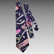 Nicole Miller 1992 Silk Necktie Tie Tooth Doc Novelty Print