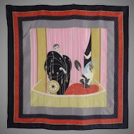 Vintage 1980s Erte L'Opera Silk Scarf Made in Italy Signed